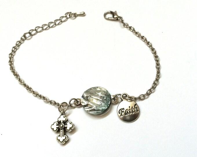 Christian bracelet, Faith Based Silver colored  Bracelet with Christian Cross Charm