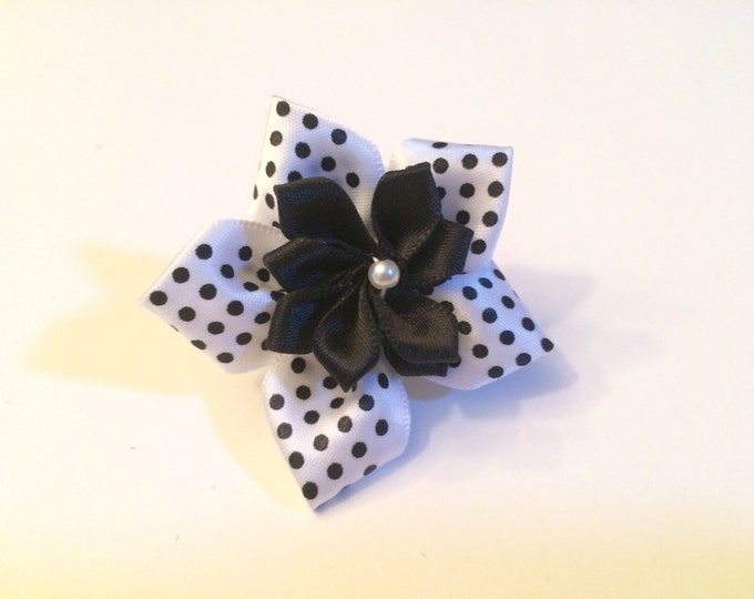 "2"" Small Polka Dot Satin Daisy Collar Flower for small dog breeds, cats, ferret or bunny rabbit"