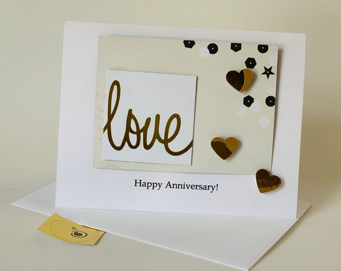 Anniversary Card, love, made on recycled paper, comes with envelope and seal