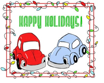 VW Bug Happy Holidays Drawing Card, Eco Friendly, comes with envelope and seal