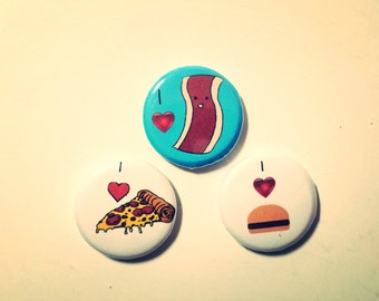 Set of three one inch button or magnet of Bacon, Pizza, and hamburger, made on recycled paper