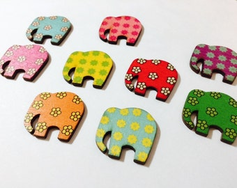 Elephant Pin, Brass,  Elephant Button, Elephant Lapel Pin, Elephant Brooch, Wood, Brightly Patterned, choose your color