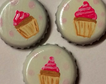 Cupcake Magnets, Set of Three Hand painted, Upcycled Bottle Cap Super Strong Neodymium Magnets, Locker Decoration, Refrigerator Magnets