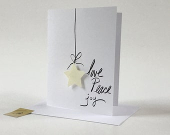 Love Peace Joy, Star Christmas Card, made on recycled paper, comes with envelope and seal