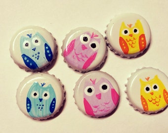 Owl Magnets, Set Of Three Hand Painted Owl Upcycled Bottle Cap Super Strong Neodymium Magnets