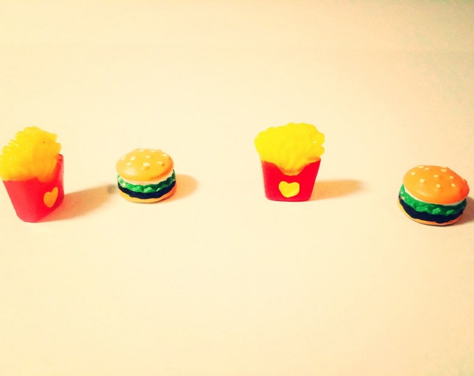 Hamburger and French Fry miniature food super strong magnet set of 4 magnets