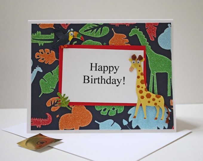 Safari Birthday Card, Jungle Birthday Card, Giraffe and Toucan dimensional fuzzy card, made on recycled paper, comes with envelope and seal