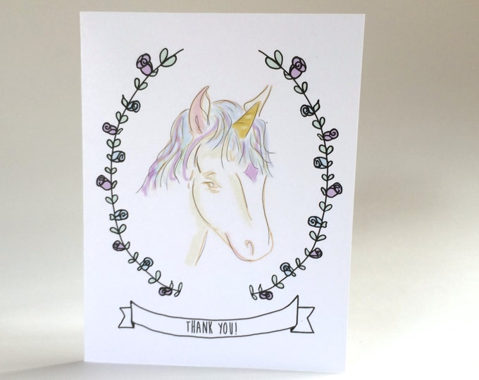 Unicorn Thank You Cards, Set of Thank You Cards, Thank you for being magical, made on recycled paper, comes with envelope and seal