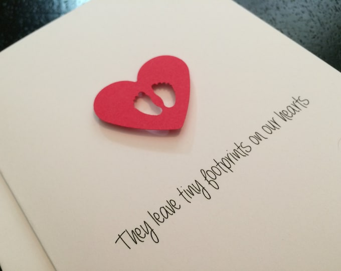 Miscarriage Sympathy Card, Miscarriage Card For Grandparents They Leave Footprints on our hearts made on recycled paper