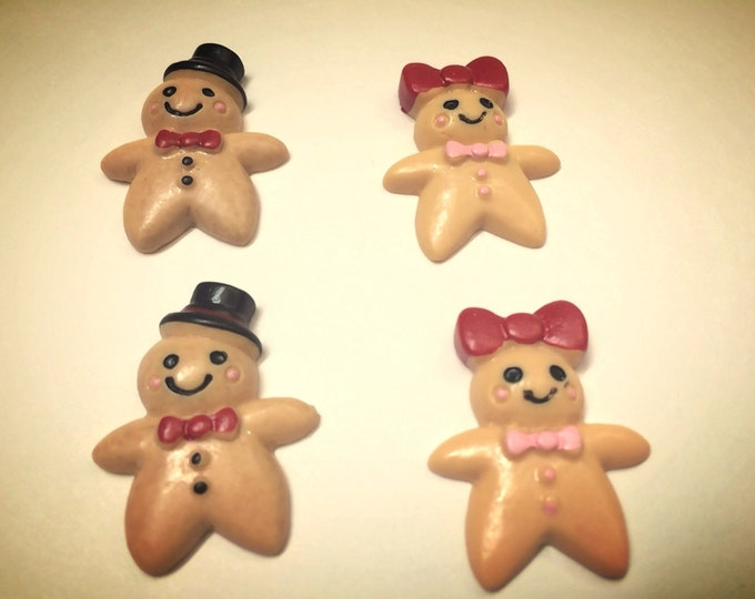 Ginger bread Man and Woman super strong magnet set of four, christmas gift, magnets