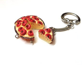 Set of Two Apple Pie Slice Keychains for best friends or couples keychains
