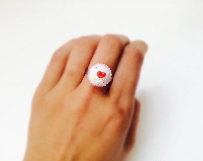 Cupcake Ring with White Icing, red heart and dark pink cup, adjustable, one size fits most