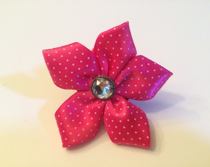 "2"" Bright Pink Polka Dot Pet Collar Flower for small breed Dogs, cats, ferets or bunnies"