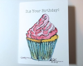 Cupcake Birthday Card, Cupcake Art Watercolor Birthday Card, Cupcake Card, made on recycled paper, comes with envelope and seal