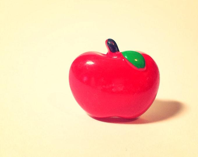 Apple Pin, Fruit Brass Pin, teacher lapel pin, tie tack button, miniature food, brooch, broche