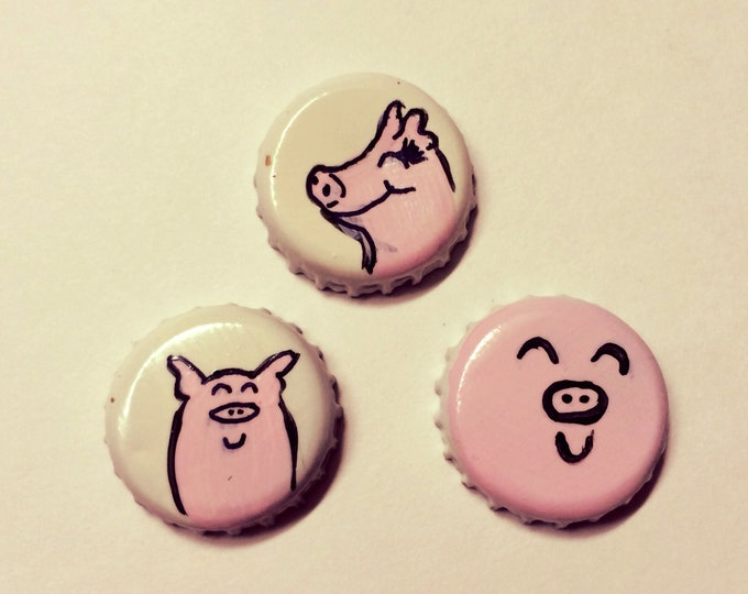 Pig Magnets, Set of Three Hand Painted Vain Little Pig upcycled Bottle Cap Super Strong Neodymium Magnets Swine Selfie