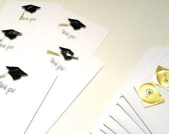 Graduation Thank You Cards, Set of 5 , Flat, made on recycled paper, come with envelopes and seal