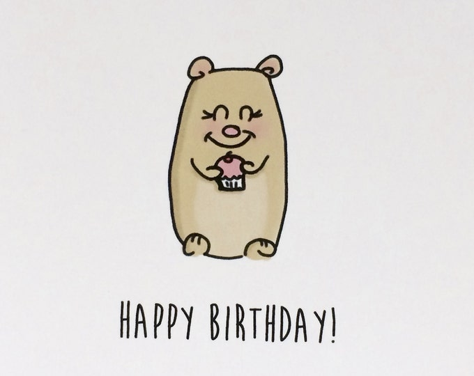 Bear Birthday Card, Hope your day is sweet, doodle card, made on recycled paper, comes with envelope and seal