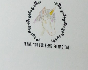 Unicorn Thank You Cards, Unicorn Thank you Cards, card set, pack of cards, Set of 10, made on recycled paper, come with envelopes and seals