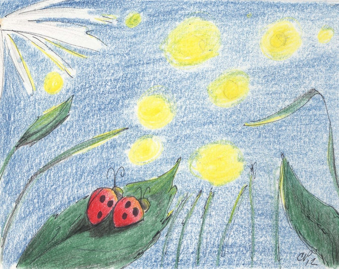 Ladybug Anniversary Card,  Ladybugs on a Leaf watching Fireflies drawing Card, made on recycled paper, comes with envelope and seal