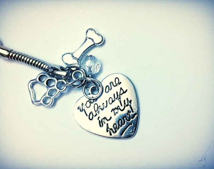 Dog Memorial, You Are Always In My Heart, loss of Dog, themed keychain with paw and bone charms, custom gem color available memoriam