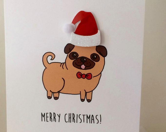 Pug Christmas Card, Merry Christmas from the Pug, From the Dog, Pug Christmas Card made on recycled paper, comes with envelope and seal