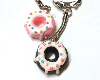 Doughnut keychains, Donut Keychain, Best Friends keychains or couples keychains of Two Donut Keychains, Kawaii
