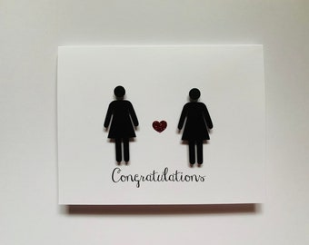 Congratulations Gay Wedding Card, With Two Women, lesbian, made on recycled paper, comes with envelope and seal