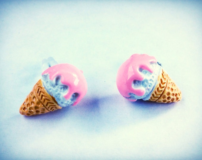 Ice cream cone miniature food post earrings, kawaii, geekery, pink, hypoallergenic, sensitive skin post option available