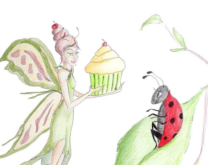 Fairy Birthday Card, Fairy Birthday, Ladybug Birthday, Drawing, made on recycled paper, comes with envelope and seal, ladybird