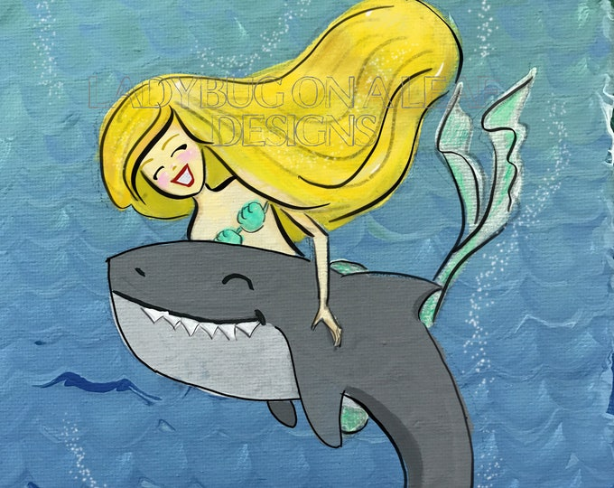 Mermaid Art, Mermaids Aren't Afraid to Swim with Sharks, Print