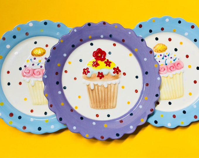 Cupcake Plates, Set of Three colorful, polka dot, cupcake decor, cupcake decoration