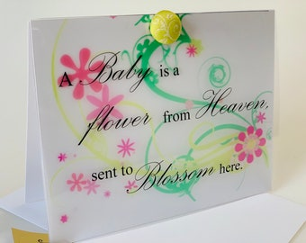 New baby card, Elegant New Baby Card, gender neutral, modern, made on recycled paper comes with envelope and seal
