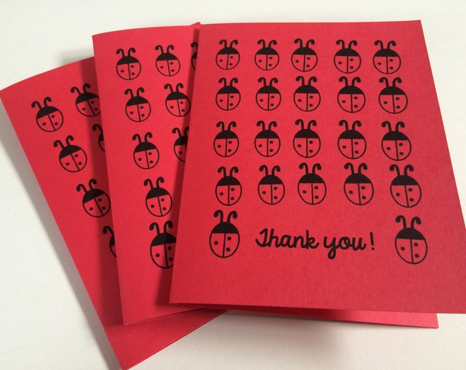 Ladybug Thank You Cards, Set of Thank You Cards, Thank you for being so thoughtful, made on recycled paper, comes with envelope and seal