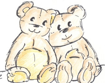 Bear Card, Happy Anniversary Card,  Old Teddy Bears Drawing Card, comes with Envelope and seal, made on recycled paper