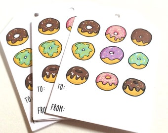 Donut Gift Tags, Doughnut Gift Tags, Gift Wrap, Hanging Tags, Donut Party To From, made on recycled paper