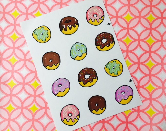 Free Shipping in US 2 Sheets of Donut Stickers, Doughnut Stickers, 24 Stickers Donut Planner Stickers One Inch