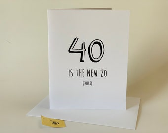 Funny 40th birthday card, funny forty birthday card, forty, fortieth, over the hill, comes with envelope and seal