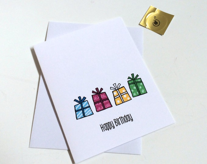 You are a gift,  Doodle Birthday Card for a friend, made on recycled paper, comes with envelope and seal
