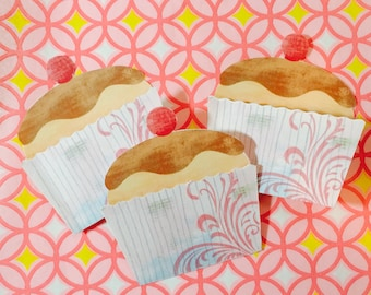 Set of 3 Mini Cupcake Cards that open to reveal a naked cupcake to write a note, hide in a lunch box