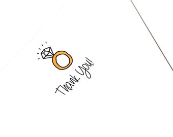 Set of 5 Flat Engagement Party Thank You Cards, With Ring Doodle, Casual Engagement made on recycled paper, come with envelopes and seals