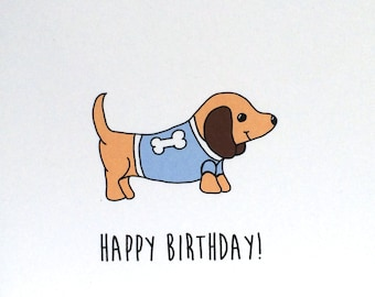 Dachshund Birthday Card, Birthday Card from the Dog, made on recycled paper, comes with envelope and seal