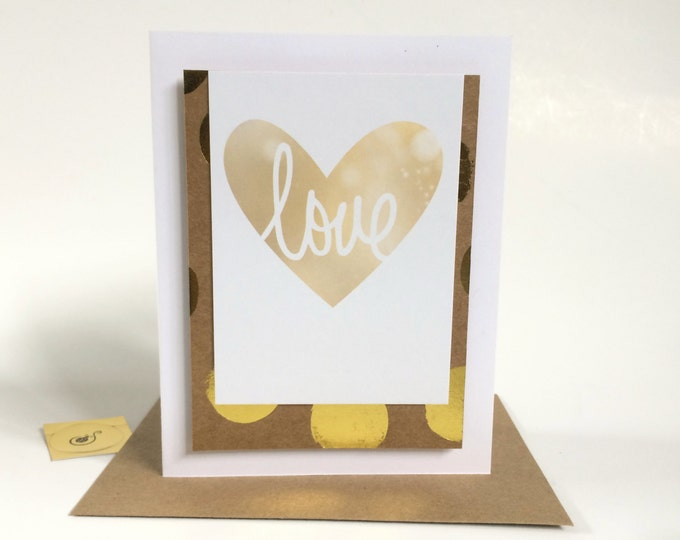 I love you, That is all, Anniversary Card, elegant, gold embellished card made on recycled paper, comes with envelope and seal