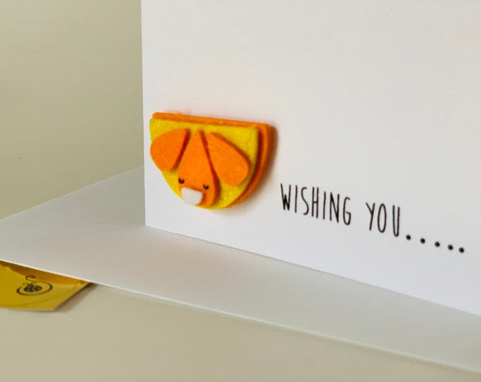 Orange Pun Birthday Card, Wishing you a slice of happiness, Funny Birthday Card, made on recycled paper, comes with envelope and seal