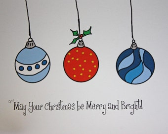 Christmas Card, May Your Christmas Be Merry and Bright, drawing print Christmas Card, made on recycled paper, comes with envelope and seal