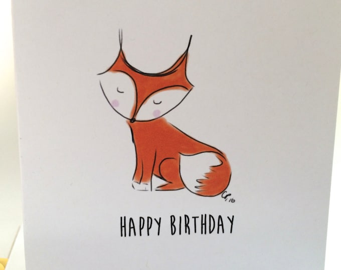 Fox Birthday Card, Happy Birthday You Foxy Thing, Fox Doodle Birthday Card made on recycled paper comes with envelope and seal