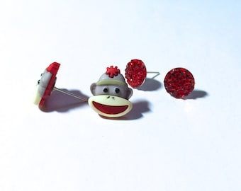 Sock Monkey Themed, set of Two Pair of  metal post Earrings, hypoallergenic available orecchini, pendientes, boucles d'oreilles