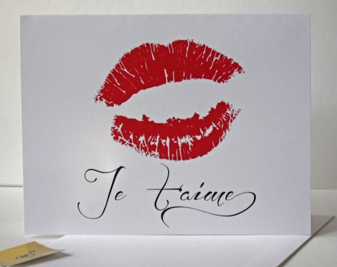 Je T Aime Card, Sexy Lips Card, red juicy lips I love you, French, made on recycled paper, come with envelope and seal red and Black