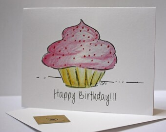 Cupcake Birthday Card, Hope its a sweet one, from my Cupcake Drawing, comes with envelope and seal, made on recycled paper