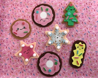 Christmas Ornaments, Set of 6, Felt Christmas Cookie Ornaments
